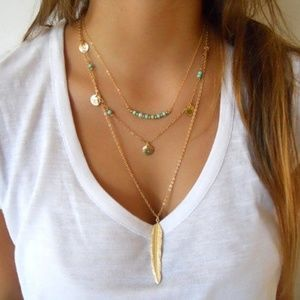 Jewelry - Boho 3 Layers Turquoise Pendant Necklace Feather